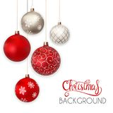 Happy New Year And Merry Christmas Winter Background With Ball Vector Illustration Royalty Free Stock Images