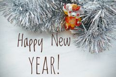 Happy New Year Animal Symbol The Rat On A Silver Tinsel And White Background Stock Image