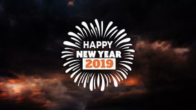 Happy New Year animation with fireworks. Happy New Year animation and greeting with colourful fireworks exploding in night sky with copy space