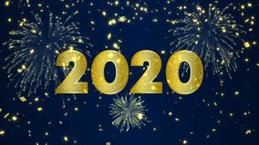 Happy New Year 2020 video card of gold fireworks
