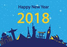 Happy new year around the world landmark, happiness celebration,. Yellow and blue style,silhouette, illustration royalty free illustration