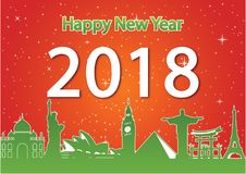Happy new year around the world landmark, happiness celebration,. Red and green style,silhouette, illustration vector illustration