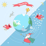 Happy New Year around the world. The vector picture. EPS 10 Stock Photos