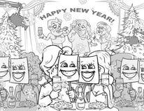 Happy new year. Art cartoon stock illustration