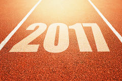 2017 Happy New Year, athletics sport running track concept Royalty Free Stock Image