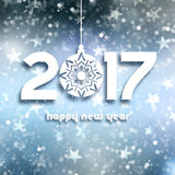 Happy New Year bacckground on starry background. Happy New Year text on a background of bokeh lights and stars Royalty Free Stock Photos