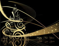 Happy New Year background. Gold and black Happy New Year background Stock Photography