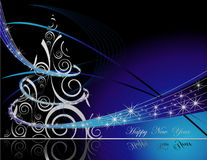 Happy New Year background. Blue and gold Happy New Year background Stock Photo