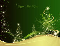 Happy New Year background. Gold and green Happy New Year background Royalty Free Stock Photography