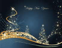 Happy New Year background. Blue and gold Happy New Year background Royalty Free Stock Photography