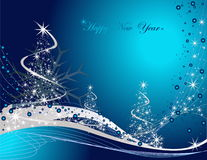Happy New Year background. Blue and silver Happy New Year background Stock Images