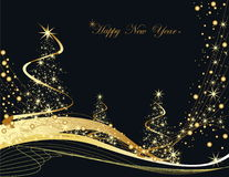 Happy New Year background. Gold and black Happy New Year background Stock Photo