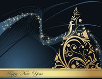 Happy New Year background. Gold and blue Happy New Year background Royalty Free Stock Photo