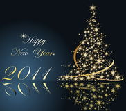 Happy New Year background. Blue and gold Royalty Free Stock Images