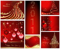 Happy New Year background. Merry Christmas and Happy New Year collection vector illustration