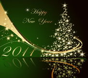 Happy New Year background. Green and gold Stock Image