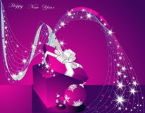 Happy New Year background. Merry Christmas background silver and violet Stock Photos