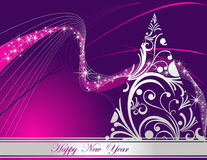 Happy New Year background. Merry Christmas background silver and violet Stock Photo