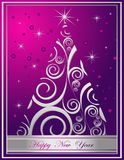 Happy New Year background. Merry Christmas background silver and violet Royalty Free Stock Image