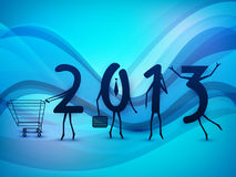 Happy New Year background with 2013. Text as a human being enjoying shopping . EPS 10 Royalty Free Stock Image