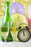 Happy new year background. Happy new  year background with glass of champagne clock and balloons Stock Photo