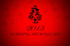 Happy New Year background. 2013 Happy New Year background, Christmas tree in red background with 2013 happy new Year Royalty Free Stock Photos