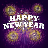 Happy New Year Background. With fireworks and satrs Royalty Free Stock Images
