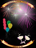 Happy new year background 2014. With balloons, champagne and fireworks Royalty Free Stock Photos