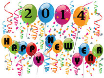 2014 Happy new year vector. 2014 Happy new year background with balloons and confetti vector Vector Illustration