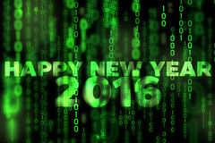 Happy new year 2016 background binary texture matrix theme. Happy new year 2016 background binary texture black and green (matrix theme stock illustration