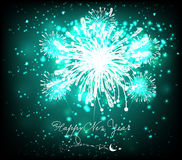Happy new year background black and blue. Beautiful Vector Fireworks for happy new year Stock Photography