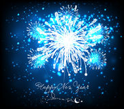 Happy new year background black and blue. Beautiful Vector Fireworks for happy new year Royalty Free Stock Photography