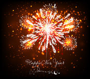 Happy new year background black and gold. Beautiful Vector Fireworks for happy new year Stock Photography