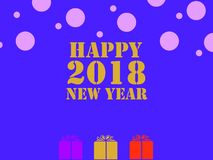 2018-Happy New Year - background blue color. Gift, text, symbol, celebration Royalty Free Stock Photography