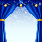 Happy New Year background with blue curtains Royalty Free Stock Image