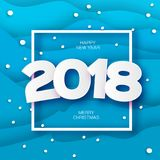 2018 Happy New Year Background. Blue Greetings Card for Christmas invitations. Paper cut snow flake. Paper cut Winter Royalty Free Stock Photo
