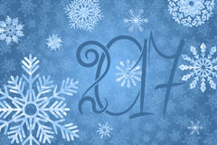 2017 happy New Year background. Blue snowy background. Vector illustration Stock Image
