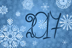 2017 happy New Year background. Blue snowy background. Vector illustration Royalty Free Stock Photos