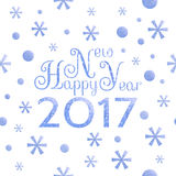 2017 Happy New Year background. With blue symbolic snowflakes and circles and greeting inscription royalty free illustration