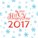 2017 Happy New Year background. With blue symbolic snowflakes and red greeting inscription royalty free illustration