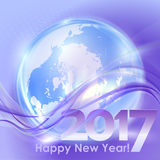 Happy New Year background with blue wave Stock Photo