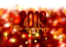 Happy New Year background with bokeh lights and stars. Design royalty free illustration
