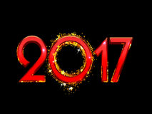 2017 Happy New Year background. 2017 Happy New Year bright red text on a black background Stock Images