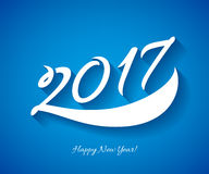 Happy New Year 2017 background. Calendar design typography calligraphic vector illustration. Paper white digits with shadows on colorful background Royalty Free Stock Photos