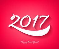 Happy New Year 2017 background. Calendar design typography calligraphic vector illustration. Paper white digits with shadows on colorful background Royalty Free Stock Image