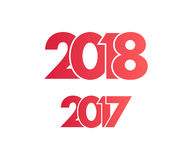 Happy New Year 2018 background. Happy New Year 2018 and 2017 background. Calendar design typography vector illustration. Year number with overlapped digits Royalty Free Stock Photos