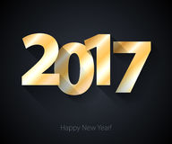 Happy New Year 2017 background. Calendar design typography vector illustration. Paper white design with shadows Stock Image