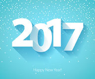 Happy New Year 2017 background. Calendar design typography vector illustration. Paper white digits design with shadows and snowflakes on colorful background Stock Photos