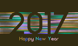 Happy New Year 2017 background. Calendar template. Colorful, hand drawn paper typeface on celebration background. Happy New Year 2017 background. Calendar Stock Illustration