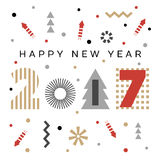 Happy New Year 2017 background. Calendar template.  Greeting card. Vector illustration Stock Photography